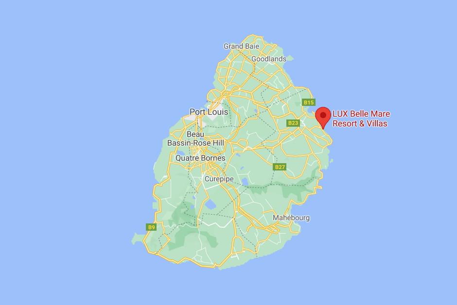 LUX Belle Mare Resort & Villas Map.
